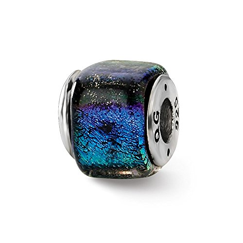 925 Sterling Silver Charm For Bracelet Rainbow Dichroic Glass Square Bead Glas Fine Jewelry Gifts For Women For Her