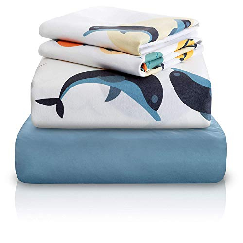 Chital 4 Pc Twin Bed Sheets | Dolphin Themed Kids Bedding Set | Marine Animal Collection | Durable Super-Soft, Double-Brushed Microfiber | 1 Flat & 1 Fitted Sheet, 2 Pillow Cases | 15
