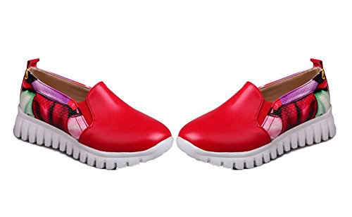 Amoonyfashion Womens Pu Pull-on Tacco Basso Scarpe Col Tacco Assortiti Colore Rosso