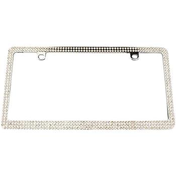 Custom Frames 92860 Chrome with White Bling License Plate Frame