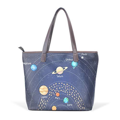 LORVIES Astronomía Educativa Planeta Grande bolsa PU piel Mango Bolsas de Hombro Mujer Bolso bolsa