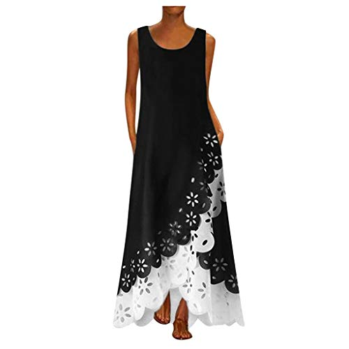 Hotkey Women's Loose Plus Size Cotton Casual Floral Printed Dress Sleeveless Dress A-36