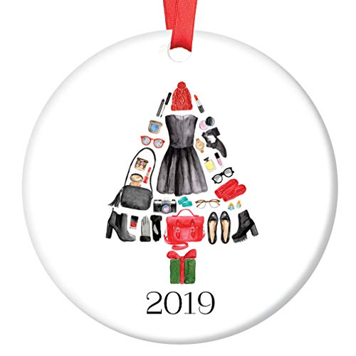 Fashion Christmas Ornament 2019 Ceramic Keepsake Present for Stylish Woman Who Loves Trendy Shoes Clothes & Knows How to Accessorize Clothing 3