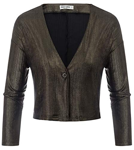 (Women's Sparkly Open Front Cropped Cardigan Long Sleeve Shrugs Bolero Bronze M)