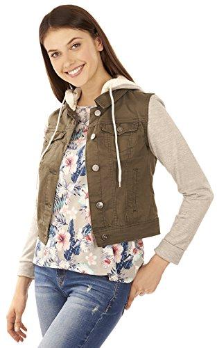 WallFlower Juniors Twill Hooded Jacket in Olive Size:JM - Green Twill Jacket