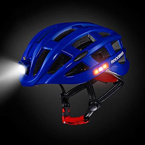 GHL Bicycle Helmet Versus LED Warning Light Mountain Highway Riding Lighted Helmet Lighting Headlights, Warning Lights on Both Sides, Warning Tail Light,Blue ()