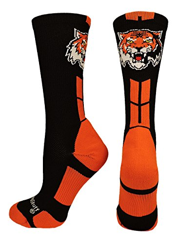 MadSportsStuff Tigers Logo Athletic Crew Socks (Black/Orange, Large) (Apparel Black Tiger)