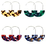 Finrezio 4 Pairs Statement Earrings for Women Bohemia Acrylic Resin Geometric Hoop Dangle Earrings