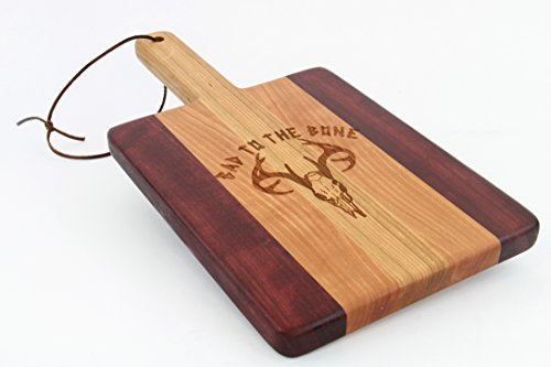 Handcrafted Wood Cutting Board - Paddle Board,Cherry & Purple heart, Laser engraved, Deer, Bad to the bone, Texas, Antler