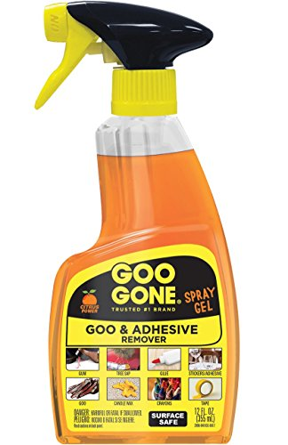 - Goo Gone Adhesive Remover Original Spray Gel - Removes Chewing Gum, Grease, Tar, Stickers, Labels, Tape Residue, Oil, Blood, Lipstick, Mascara, Shoe Polish, Crayon - 12 Ounce