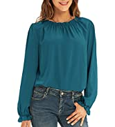 GRACE KARIN Women's Work Chiffon Blouses Casual Tops Long Sleeve Shirts Lace Loose Fit