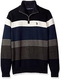 Men's Striped 1/4 Zip Sweater W/Sherpa Neck,