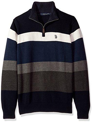 Blue Striped Sweater (U.S. Polo Assn. Men's Striped 1/4 Zip Sweater W/Sherpa Neck, Navy, X-Large)