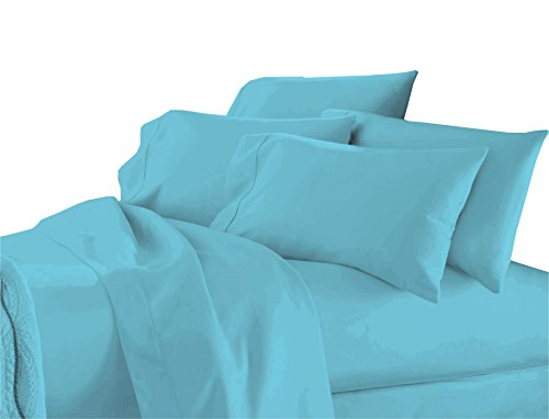 (The Kingsford Premium Luxury Collection 6 piece Solid Sheet set with 2 Zippered Pillow protectors, Cotton Rich Percale, Fully Elasticated Deep Pocket fitted sheet Aqua King)