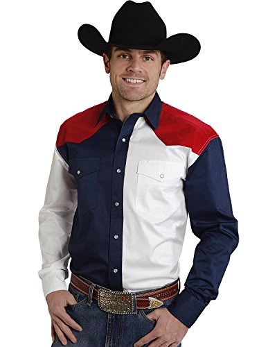 Roper Men's Americana Collection Red, White and Blue Western Shirt Patriotic Medium