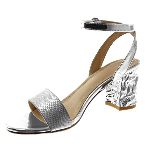 Angkorly Women's Fashion Shoes Sandals Pump Court Shoes - Open - Ankle Strap - Snakeskin - Shiny - Thong Block High Heel 7.5 cm Silver 0XQTS