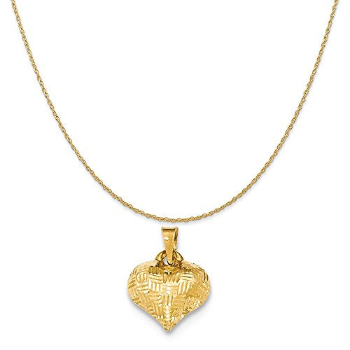 Mireval 14k Yellow Gold Textured Puff Heart Pendant on a 14K Yellow Gold Rope Chain Necklace, (Yellow Gold Puff)