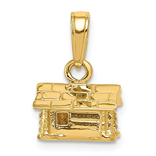 - 14k Yellow Gold 3 D Log Cabin Pendant Charm Necklace Fine Jewelry Gifts For Women For Her