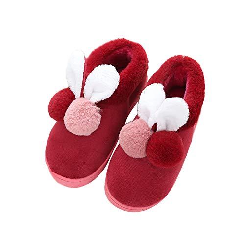En L'automne Oreilles De Et Kentop Home L'hiver 41 Peluche Pour Chaud Rouge Lapin Antidérapantes 40 Gris Coton Pantoufles Femme Chaussons Avec wq7AqIf