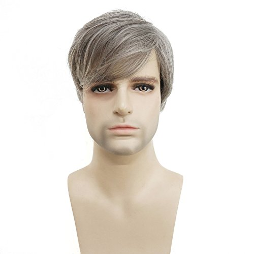 Men Short Straight Wig Gray Synthetic Natural Wigs for Men Fashion Wiginway -