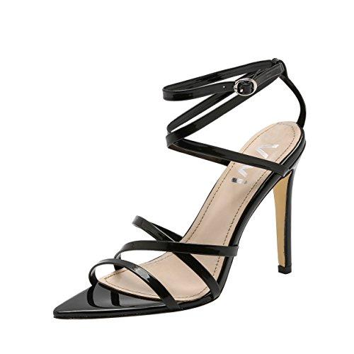 High Womens Heel Stiletto (Vivi Womens Sexy Stiletto High Heel Pointed Black Sandals Slip on Dress Shoes Size 10)