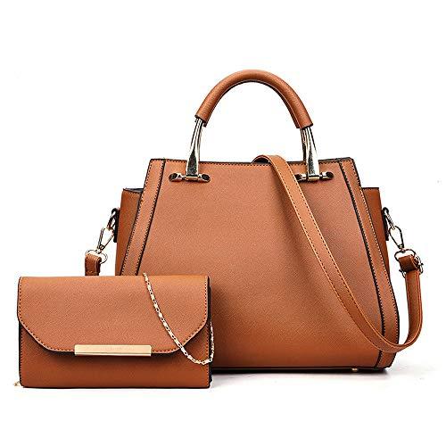 Women Handbag Top Handle Satchel Purse Shoulder Tote Bags 2pcs (X-Brown)