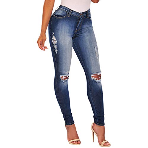 SANFASHION Jeans Femme Taille Haut Slim Trou Pantalons Skinny Crayon Denim Sexy Bleu3