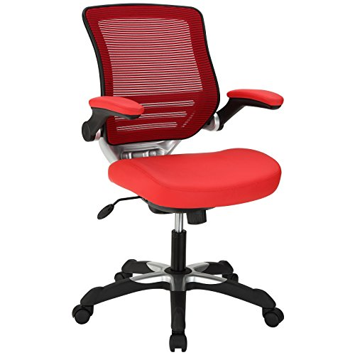 Modway Edge Mesh Back and Red Vinyl Seat Office Chair With Flip-Up Arms - Ergonomic Desk And Computer Chair