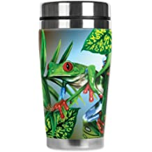 Mugzie Red Toe Tree Frog Travel Mug with Insulated Wetsuit Cover, 16 oz, Black