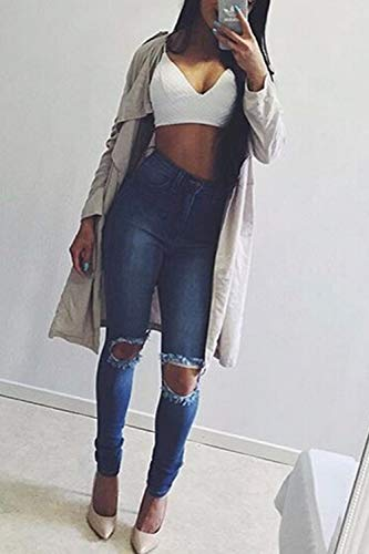 Le Vepodrau Alto Blu Pantaloni In Occasionale Donne Jeans Strappati Attillati 71q1wU