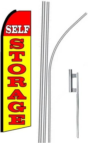 5 five SELF STORAGE yel//red 15 Swooper #4 Feather Flags KIT