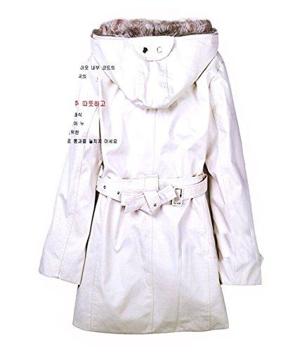 Veste Parka Manteau Amovible Long 2016 Beige Blouson Grand Fourrure Coton avec Militaire Veston Capuche Femme Ceinture Taille Polaire Blansdi Hoodie Hiver Chaud 8XEwxRxqA