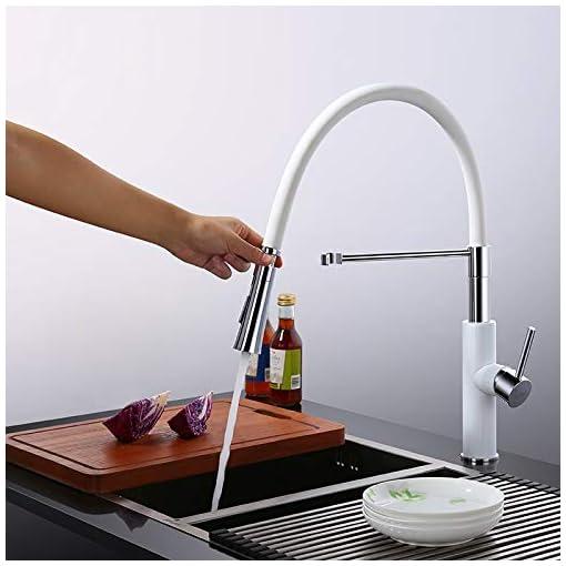 Kitchen Lovedima Modern Sleek White Pull Out Kitchen Faucet Solid Brass Single Handle Kitchen Sink Faucet with Pull Down Sprayer modern sink faucets