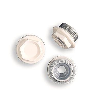 """Tapones Blanco RAL 9010 para radiadores, tapones para radiador Izquierda aluminio 1 """""""