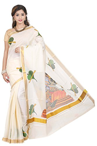 cream cotton kerala kasavu Printed MURAL ART work saree with Attached Blouse