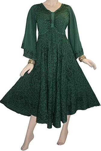 206 DR Agan Traders Butterfly Bell Sleeve Dress (Medium, H Green) ()