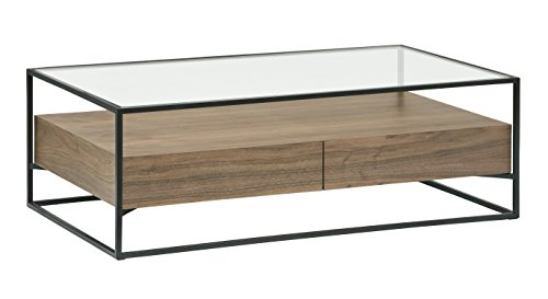 (Rivet King Street Industrial Floating Storage Coffee Table, Walnut, Black Metal, Glass)