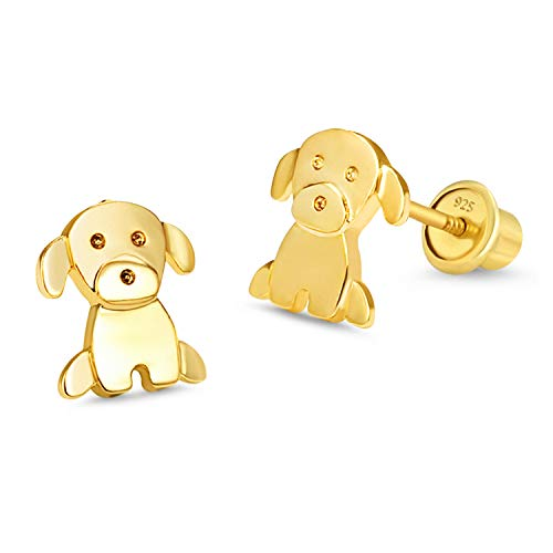 14k Gold Plated Baby Puppy Cubic Zirconia Screwback Baby Girls Screwback Earrings with Silver Post ()