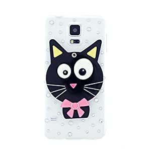 CaseBee® Cute Series - Cute 3D Black Kitty Cat w/ Mirror Samsung Galaxy S5 i9600 Case - Handmade Bling Bling Rhinestones - Perfect Gift (Package includes Extra Crystals & Screen Protector)