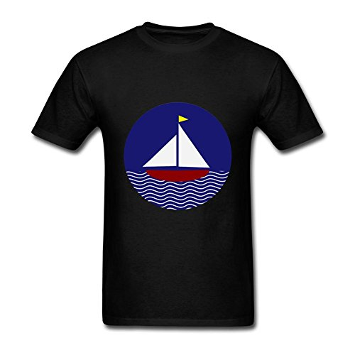 Heerinsy Men's Navy Blue Red Sailboat Design Sticker Color Short Sleeve T-Shirt M