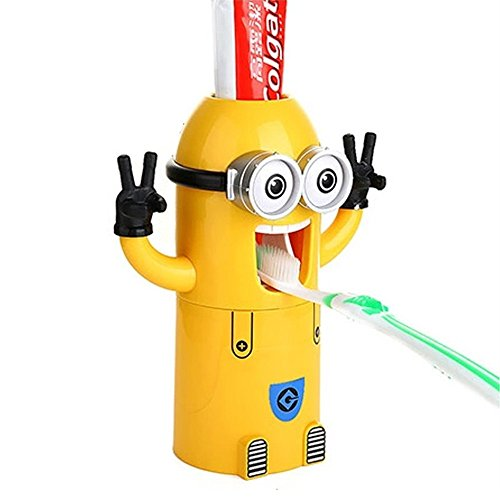 Toothbrush Holder Automatic Toothpaste Dispenser with Brush Cup Cute Minions Design Wash Set Yellow (Two Eye)