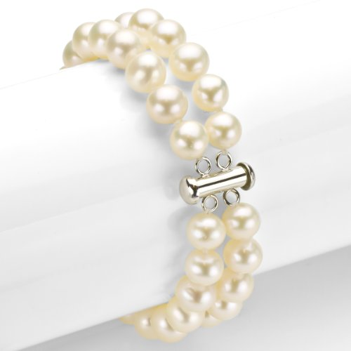 Sterling Silver 2 Rows 8-8.5mm White Freshwater Cultured Pearl Bracelet with Tube Clasp, 8'' by La Regis Jewelry (Image #1)