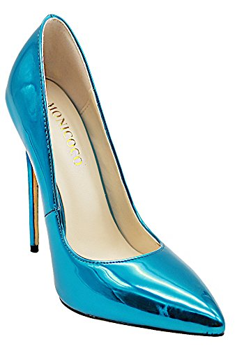 Party Heels Women's High Thin Dress MONICOCO Patent Pumps Teal Shoes Pointed Toe xZXnqa68