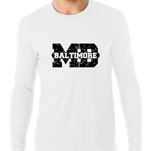 Baltimore, Maryland MD Classic City State Sign Men's Long Sleeve T-Shirt (Party City Baltimore Md)