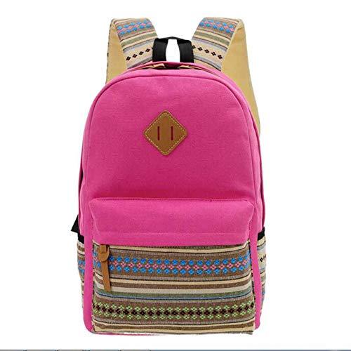 Amazon.com: 2018 Stripe Backpack Flowers Canvas Student Rucksack Bookbags School Bag Satchel Travel Bags for Teenage Girls: Kitchen & Dining