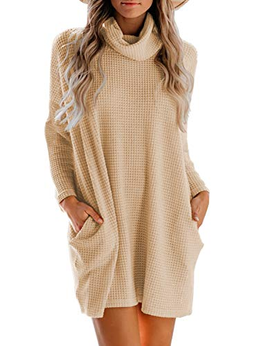 MIHOLL Women's Long Sleeve Cowl Neck Knitted Oversized Pullover Long Sweater Dresses Tops (Beige, Medium)