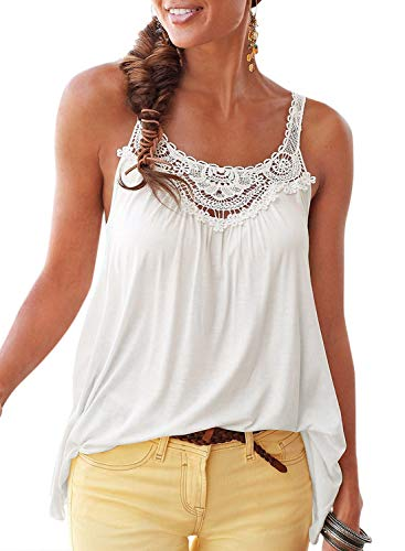Asvivid Womens Summer Crochet Lace Casual Loose Tank Tops Round O Neck Sleeveless T Shirt Plus Size 1X White