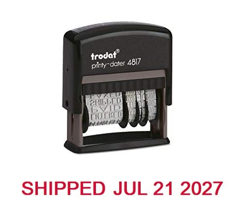 Trodat Rotating Stock Message Phrase Dater Self-Inking Rubber Stamp - Answered, Checked, Back Ordered, Delivered, Cancelled, Entered, Billed, Paid, Received, Shipped, Charged, FAXED (Red) ()