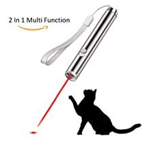 Laser Cat Toys, Exquisite Packaging, Red Light Mini Flashlight 2 in 1 Multi Function Funny Cat Chaser Toys, Pet Command Training Tools with need 1*AA Battery