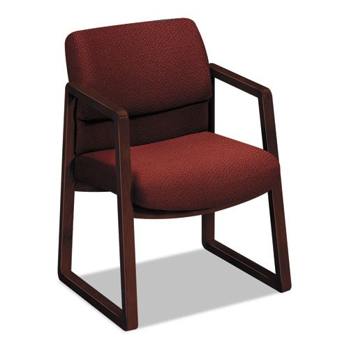 HON 2403NAB62 2400 Series Guest Arm Chair, Mahogany Finish, Burgundy Fabric